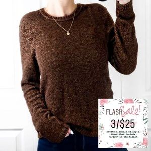 3/$25 Brown Soft Fuzzy Crewneck Pullover Sweater S